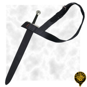 A baldric is worn diagonally across the chest, to more comfortably carry a heavy sword with the weight on one shoulder.