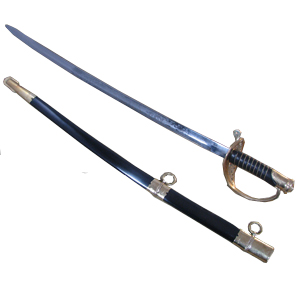 The SNS110A U.S. Foot Officer's Sword features an elaborately etched carbon steel blade, including the U.S. insignia. The leather grip is spiral wire bound and foliate designs are cast into the handguard. The steel scabbard has brass fittings.