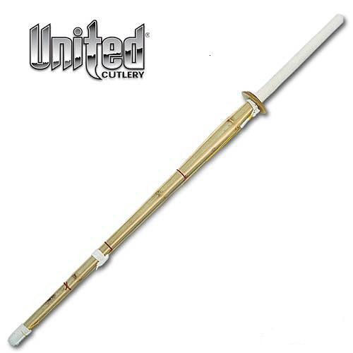 "Kendo practice sword, 44"" Overall, Bamboo wood construction with a white leather wrapped handle and PVC guard. The yellow and red cords hold the 4 parts of the shinai in place as it can be taken apart."