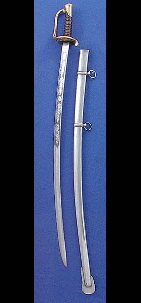 U.S. Foot Officer's Sabre SNA18 features a wire-wound leather grip, polished steel scabbard, and an elaborately etched carbon steel blade, including the 'U.S.' insignia.